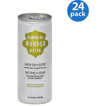 Kombucha Wonder Drink Green Tea & Lemon Sparkling Fermented Tea, 8.4 oz, (Pack of 24)