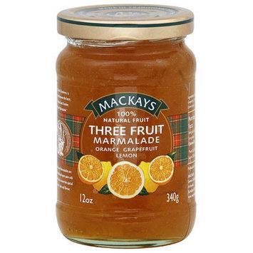 Mackays 3 Fruit Marmalade, 12 oz, (Pack of 6)