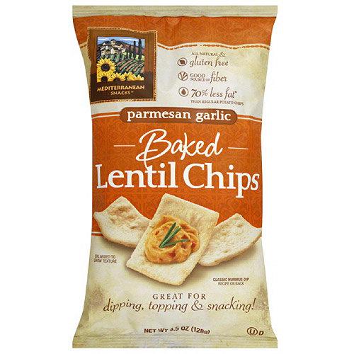Mediterranean Snacks Baked Parmesan Garlic Lentil Chips, 4.5 oz, (Pack of 12)