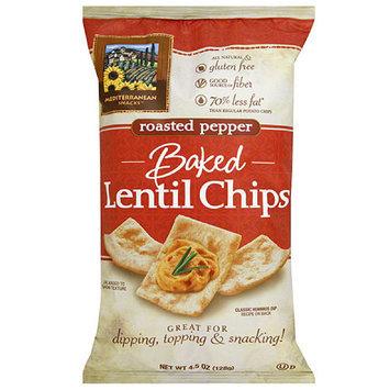 Mediterranean Snacks Baked Roasted Pepper Lentil Chips, 4.5 oz, (Pack of 12)