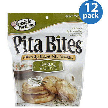 Sensible Portions Garlic 'n Chive Naturally Baked Pita Crackers, 5 oz, (Pack of 12)