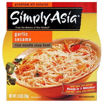 Simply Asia Garlic Sesame Rice Noodle Soup Bowl, 2.5 oz, (Pack of 6)