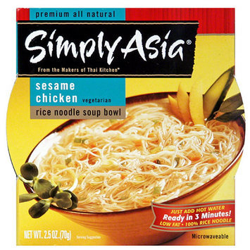 Simply Asia Sesame Chicken Flavor Rice Noodle Soup Bowl, 2.5 oz, (Pack of 6)