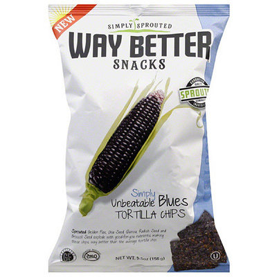 Way Better Snacks Simply Unbeatable Blues Tortilla Chips, 5.5 oz, (Pack of 12)