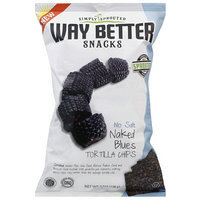 Way Better Snacks No Salt Naked Blues Tortilla Chips, 5.5 oz, (Pack of 12)