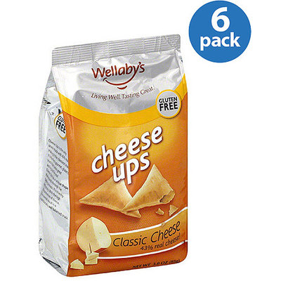 Wellaby's Cheese Ups Gluten-Free Classic Cheese Snacks, 3 oz, (Pack of 6)