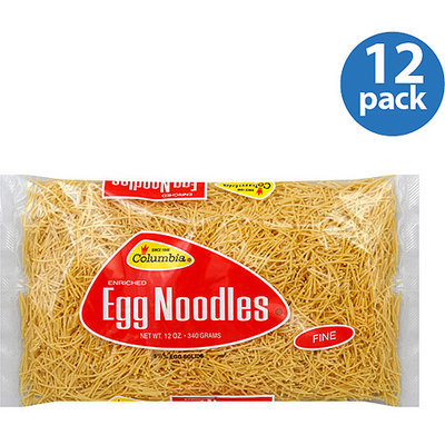 Columbia Enriched Fine Egg Noodles, 12 oz, (Pack of 12)