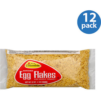 Columbia Enriched Egg Flakes Noodles, 12 oz, (Pack of 12)