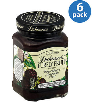 Dickinsons Dickinson's Purely Fruit Seedless Boysenberry Fruit Spread, 9.5 oz, (Pack of 6)