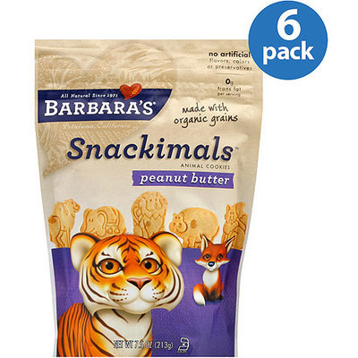 Barbaras Barbara's Bakery Snackimals Peanut Butter Animal Cookies, 7.5 oz (Pack of 6)