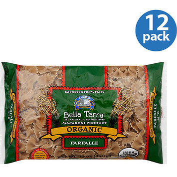 Bella Terra Organic Whole Wheat Farfalle Pasta, 12 oz (Pack of 12)
