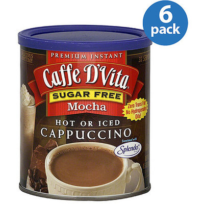 Caffe D'vita Sugar Free Mocha Hot or Iced Instant Cappuccino, 8.5 oz, (Pack of 6)