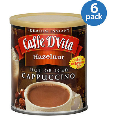 Caffe D'Vita Hazelnut Cappuccino Mix, 16 oz, (Pack of 6)