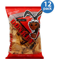 Donkey Chips Salted Authentic Tortilla Chips, 14 oz, (Pack of 12)