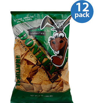 Donkey Chips Unsalted Authentic Tortilla Chips, 14 oz, (Pack of 12)