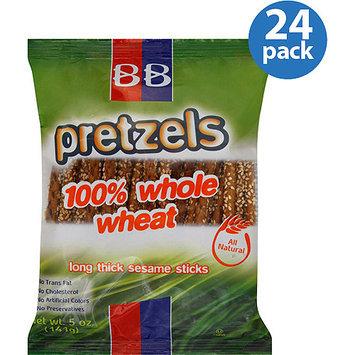Beigel & Beigel Beigel Beigel 100% Whole Wheat Long Thick Sesame Stick Pretzels, 5 oz, (Pack of 24)