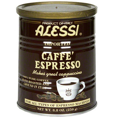 Alessi Caffe' Espresso 100% Pure Ground Coffee, 8.8 oz, (Pack of 6)