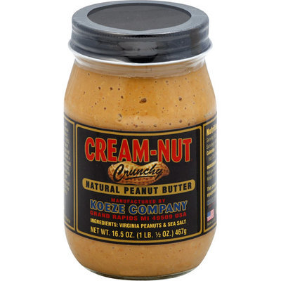 Cream-Nut Crunchy Natural Peanut Butter, 16.5 oz, (Pack of 12)