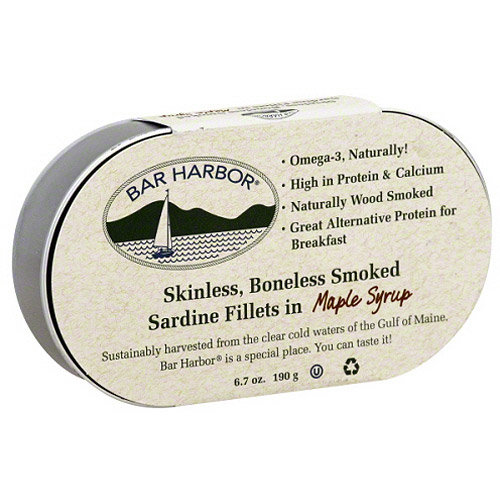 Bar Harbor Skinless Boneless Smoked Sardine Fillets in Maple Syrup, 6.7 oz, (Pack of 12)
