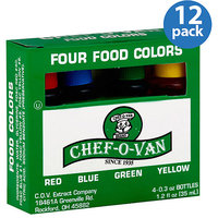 Chef O Van Chef-O-Van Food Colors, 1.2 oz, 4 count (Pack of 12)