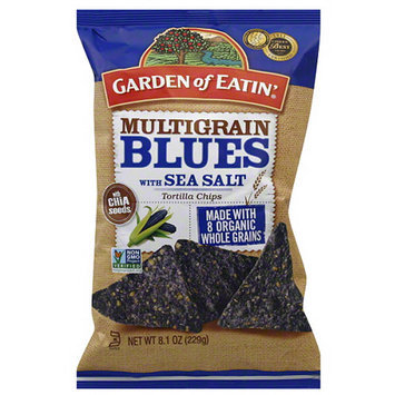 Garden of Eatin' Multigrain Blues Tortilla Chips with Sea Salt, 8.1 oz (Pack of 12)