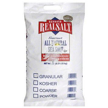 Redmond Real Salt Gourmet All Natural Sea Salt, 25 lbs