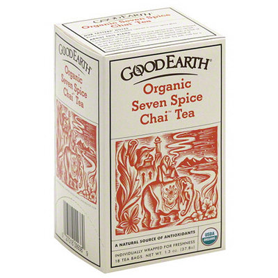 Good Earth Organic Seven Spice Chai Tea, 1.3 oz, (Pack of 12)
