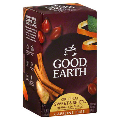 Good Earth Original Sweet & Spicy Caffeine Free Herbal Tea Blend, 1.43 oz, (Pack of 6)