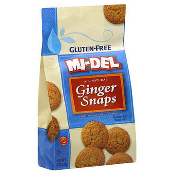 Midel MI-DEL Gluten-Free All Natural Ginger Snaps Cookies, 8 oz (Pack of 12)