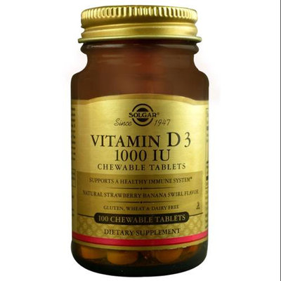 Solgar Vitamin D3 Strawberry Banana Swirl 1000 IU - 100 Chewable Tablets