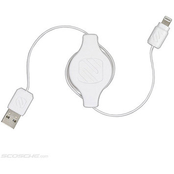 SCOSCHE White 3 ft. White Retractable Charge & Sync Cable for Lightning Devices I2RW