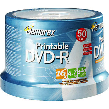 Imation Corporation Memorex - 50-Pack 16x Printable DVD-R Disc Spindle