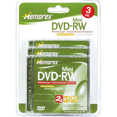Memorex 2x DVD-RW Media - 1.4GB - 3 Pack