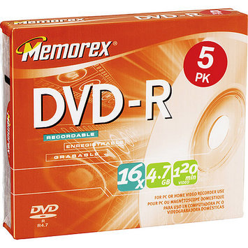 Memorex - 5-Pack 16x DVD-R Disc Spindle