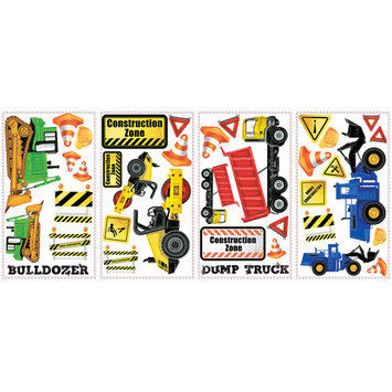 York Wall Coverings Construction Trucks Peel and Stick Wall Decals