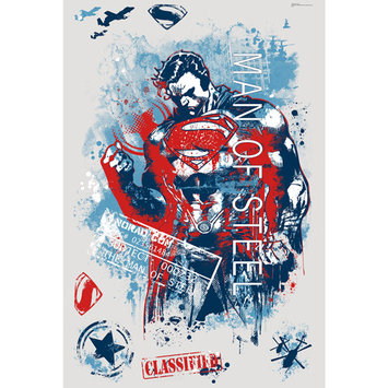 RoomMates Superman Man of Steel Distressed Graphic Peel and Stick Wall Decals