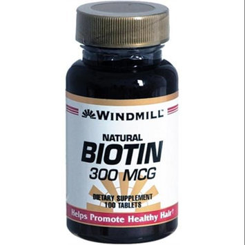 Biotin 300 mcg, 100 Tablets, Windmill Health Products