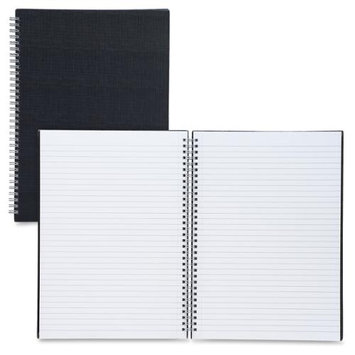 Sparco Twin-wire A4 Linen Notebook - 80 Page - Ruled - A4 8.27 X 11.69 - 1 Each Black Cover (spr-17708)