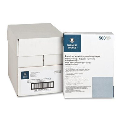 Business Source BSN32125 Paper- Multipurpose- 20lb- 92 Bright- 5RM-CT- White