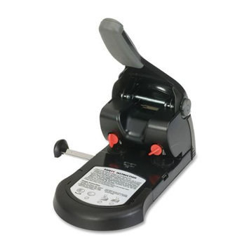 Business Source 62875 Two-Hole Punch 65 Sheet Capacity 1/4in Black/Gray