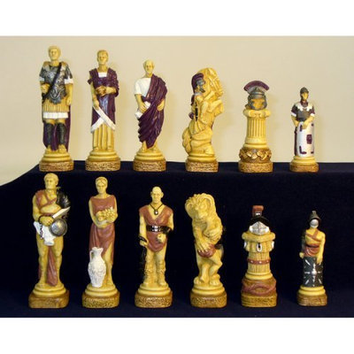 World Wise Imports Royal Chess Spartacus Painted Resin Chess Pieces