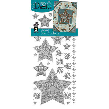 Hot Off The Press DAZ-1843 Dazzles Stickers -Silver Stacked Star