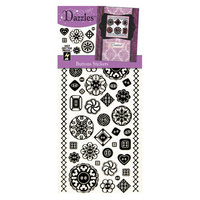 Hot Off The Press DAZ-1917 Dazzles Stickers -Buttons Black Glitter