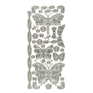 Hot Off The Press Dazzles Stickers-SILVER STACKED BUTTERFLIES & DRAGONFLIES
