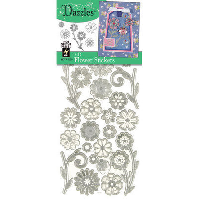 Hot Off The Press 463040 3D Dazzles StickersFlowersSilver