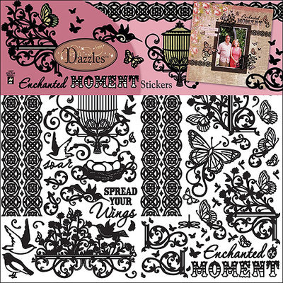 Hot Off The Press 120948 Dazzles Stickers 6 in. x 9 in. 3 Sheets-Black Steampunk