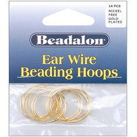 Wmu Ear Wire Beading Hoops Small 20mm 14/Pkg-Gold Plat