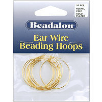 Wmu Ear Wire Beading Hoops Large 30mm 10/Pkg-Gold Plat