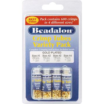 Beadalon Crimp Tube Variety Pack Sizes #1, #2, #3, #4 600/Pkg-Gold Plated
