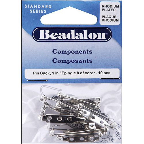 Beadalon 356W-010 Rhodium Plated Beadalon Pin Back 1 Jewelry